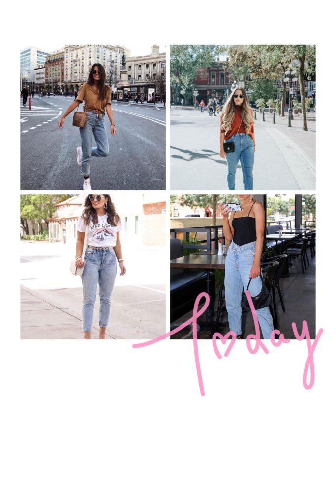 collage con quattro outfit di momento jeans. il mom jeans è tra i jeans autunno 2020